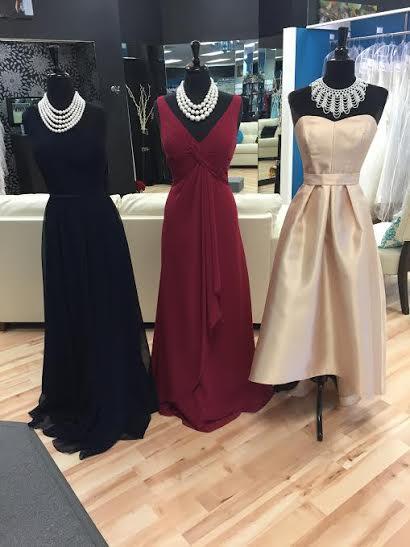Maroon and Navy Bridesmaid Dresses